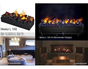 Modul L 100 de Luxe - mit flimmender Holzglut (LED) Elektrischer Kamineinsatz