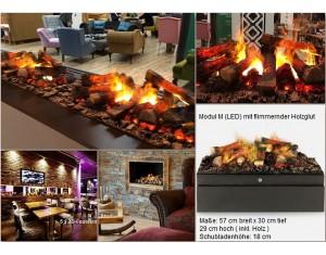 """3-D-Feuer """"Modul M LED"""" - Elektrofeuereinsatz mit flimmender Holzfeuerglut"""